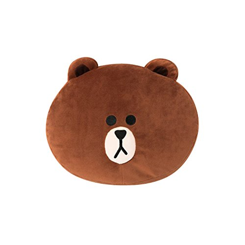 LINE FRIENDS Soft Nap Cushion - Brown Character Throw Pillow, 12in, - Friends Throw