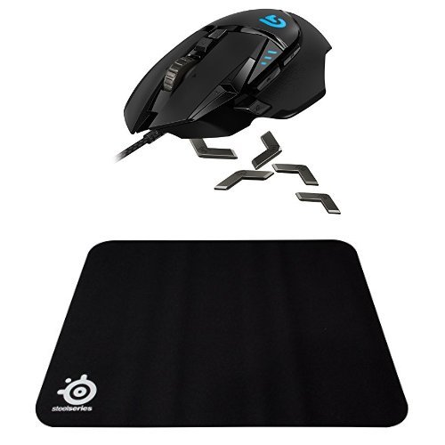 (Logitech G502 Proteus Spectrum RGB Tunable Gaming Mouse, FPS Mouse with SteelSeries QcK Gaming Mouse Pad (Black))