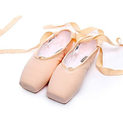 Silicone Rose Profession Filles Ballet En Chaussures Pour Satin Exercice Xiuzp Canvas Toile Pointe Femmes Sangles Éponge PgqRWnRFS