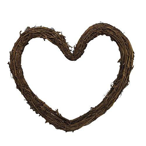 (VORCOOL 2pcs DIY Crafts Rattan Heart Natural Dried Grapevine Wreath Xmas Garland)