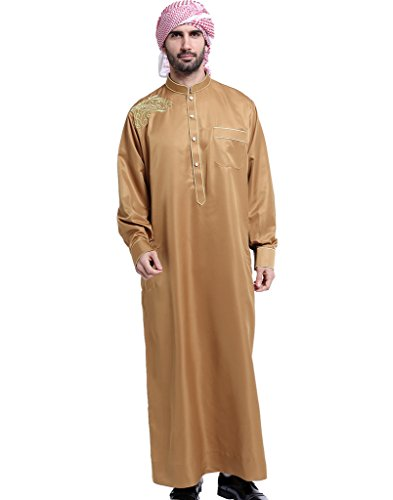 GladThink Hombres Thobe con Mangas largas árabe Desgaste ...