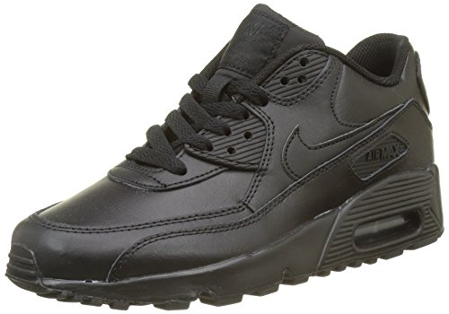 Max Leather (Nike 833412-001 Kid's Air Max 90 Leather Running Shoes, Black/Black, 7 M US Big Kid)