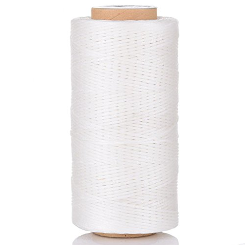 White Wax Cord - Selric [24 Colors Available] 210D 1mm 196Yards Flat Waxed Thread Hand Stitching Cord Leather Craft Tool Leather Stitching Sewing (White)