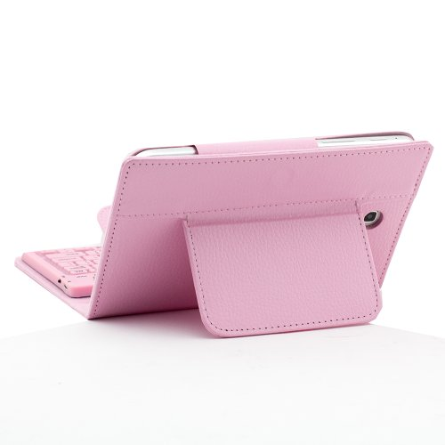 """SUPERNIGHT(TM) PU Leather Protective Stand Case Cover Wireless Bluetooth Silicone Keyboard for 7"""" Samsung Galaxy Tab 3 a 7.0 inch 7'' T210 T211 P3200 P3210 Pink"""