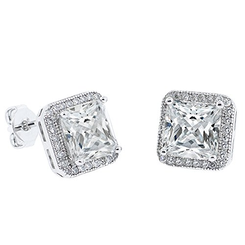 Amazon Cyber Monday Deals 2018 - Cate & Chloe Norah 18k White Gold Princess Cut CZ Halo Stud Earrings, Sparkling Cluster Silver Stud Earring Set w/Solitaire Round Cut Diamond Crystals, Wedding