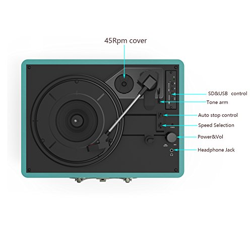Record Player, MSTING Turntable Bluetooth for Vinyl Record 3 Speed with Two Dual Stereo Speakers Belt Drive Turntable with Headphone, RAC,USB/SD Card Recording by MSTING (Image #3)