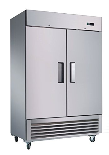 Sybo 50 Cubic Feet Double 2 Door Stainless Steel Heavy Duty Reach-in Commercial Storage Freezer with Removable Shelves and Digital Temperature Control Premium Quality Restaurant Freezer (KF-49) by Sybo International