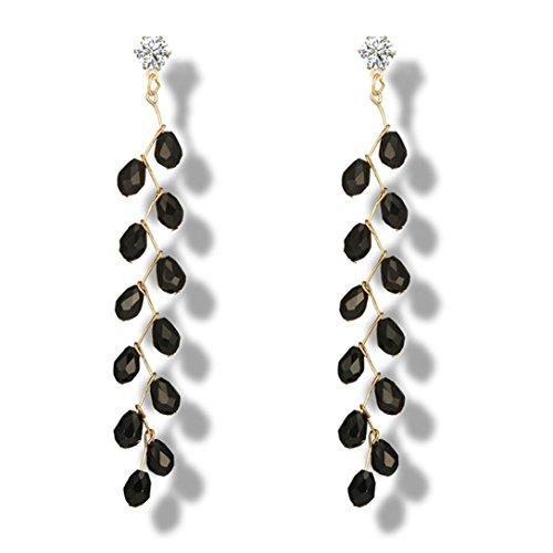 Collection Chandelier Earrings - DDLBiz Women Beautiful Fashion Long Pomegranate Crystals Chandelier Earrings (Black)
