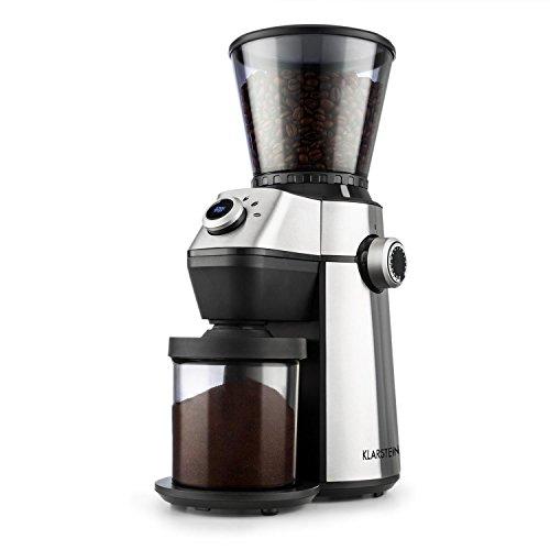 Klarstein Triest – Molinillo de café, Molinillo eléctrico, Mecanismo cónico, 15 grados de molido, Recipiente 300g…