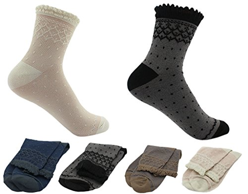 BONAMART ® Women Lady 4 Pack Tube Ankel Crimping Bamboo Princess Socks 36-40
