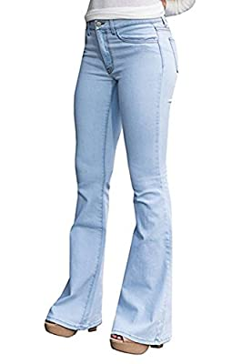 CNJFJ Women's Bell Bottom Jeans High Waist Denim Wide Leg Full Length Pants