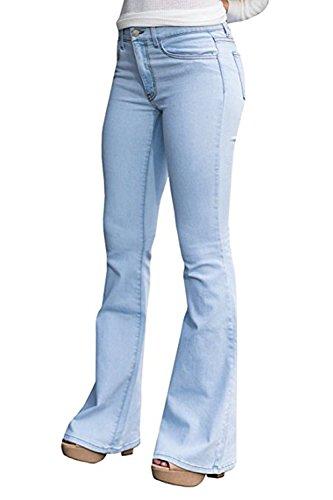 CNJFJ Women's Bell Bottom Jeans High Waist Denim Wide Leg Full Length Pants (X-Large, Light Blue)