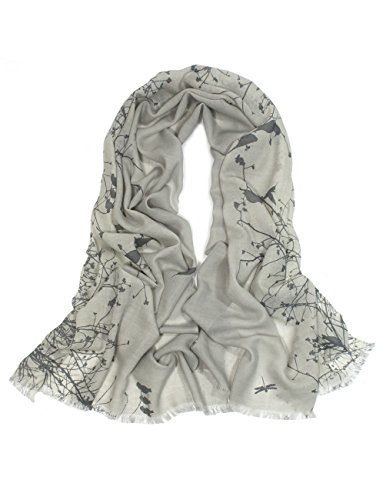 - Dahlia Women's 100% Wool Scarfs, Wraps, and Shawls Flying Bird Tree Branch Gray