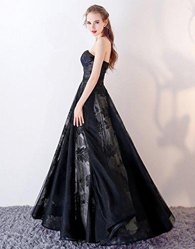 Qiuqier Donna Vestito per da abito Blu sera senza Scuro spalline lungo nBRqnxwfrE