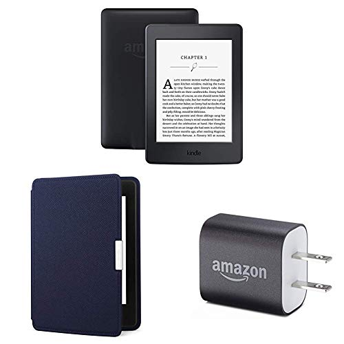 "Kindle Paperwhite Essentials Bundle including Kindle Paperwhite 6"" E-Reader (Previous Generation - 7th), Black , Amazon Leather Cover - Ink Blue, and Power Adapter"