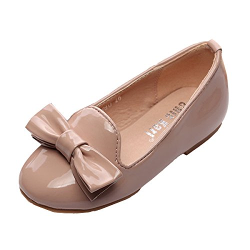 Chickarl Nude Patent Leather Round Toe Bow Slip On Flat Shoes(Toddler/Little Kid)