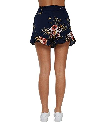 Marine Floral À Pants Cordon Jambes Auxo Haute Taille Imprimé Femme court Pantalons Large Palazzo Évasé EqxFOtw