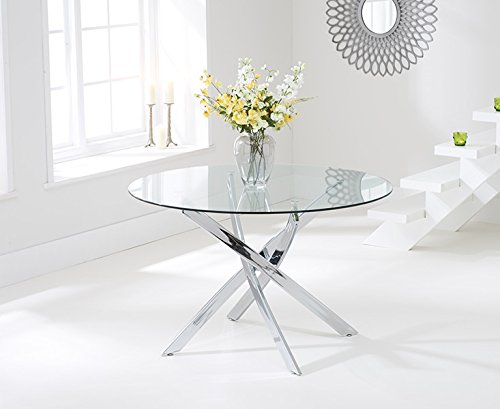 texas 120cm glass round dining table amazoncouk kitchen home - Glass Round Dining Table