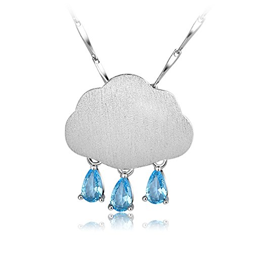 (Looyar S925 Sterling Silver Clouds Raindrop Necklace Simple Temperament Pendant Necklace for Girl)