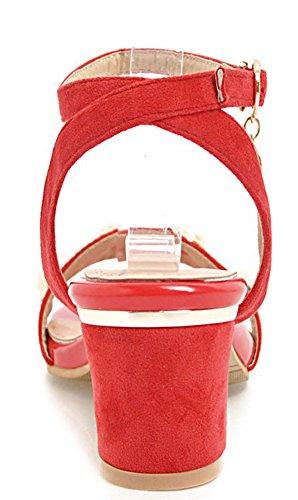 Aisun Women's Chic Buckled Mid Block Heels Sandals Red ZAM2w