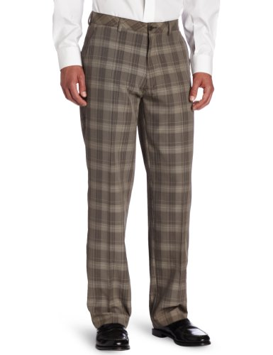 Haggar Men's C18 Broken Glen Plaid Straight Fit Flat Front (Plaid Golf Pants)