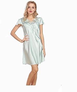 Pakamo Camisa de dormir de verano con cuello en V para mujer - Pijamas de manga