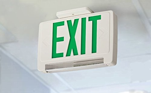 Lithonia Lighting ECBG LED M6 LED Exit and Emergency Light Bar  Combo Fixture with Back Up Battery Green Letters Renewed