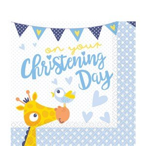 9901952 33cm On Your Christening Day Blue Luncheon Napkins ()