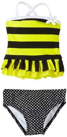 Love U Lots Baby Girls' 2 Piece Bee Ruffle Tankini Stripe, Black/Yellow, 12 Months
