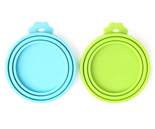 Comtim Pet Food Can Cover/Silicone Can Lids for Dog and Cat Food, Blue/Green