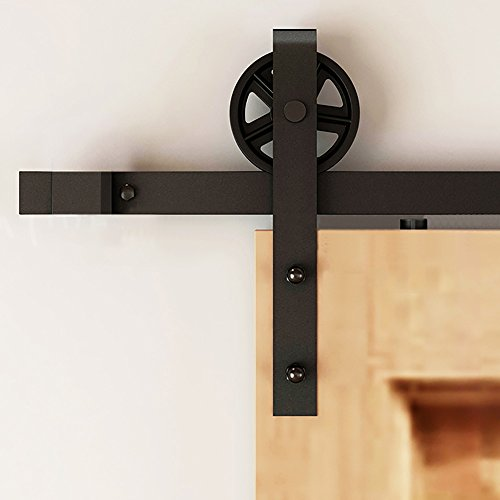 Cheap Hahaemall 6FT/72'' American Style Roller Single Sliding Barn Door Hardware Big Black Wheel Track Heavy Bearing Kit