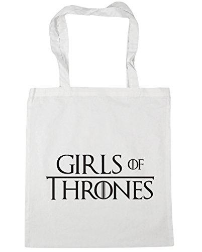 HippoWarehouse Girls Of Thrones Tote Shopping Gym Beach Bag 42cm x38cm, 10 litres White