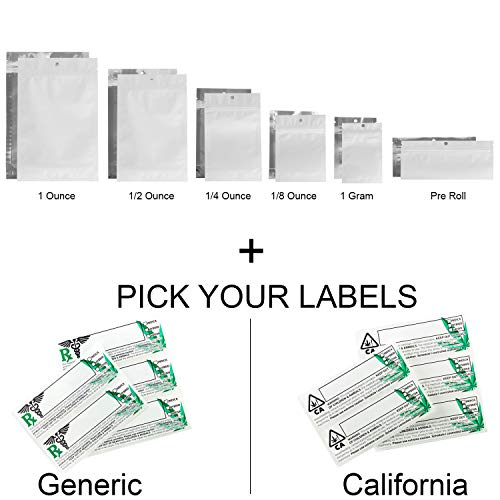 100 - Matte White & Clear Mylar Smell Proof Bags w/Rx Labels (Generic Labels, 1 Gram) ()