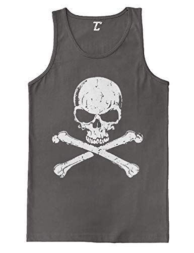 Skull and Crossbones - Badass Men's Tank Top (Charcoal, -