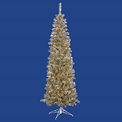 "Vickerman 7.5' x 34"" Pre-Lit Champagne Gold Tinsel Artificial Christmas Tree - Clear Dura Lights"