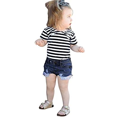 Toddler Clothes, 2Pcs Baby Girls Striped Tops+Denim Shorts Outfits Set by WOCACHI