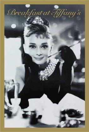 Breakfast at Tiffanys Audrey Hepburn B/W Cigarette Huge Vintage PAPER Movie Poster Measures 40 x 27 Inches (100 x 70 cm ) approx