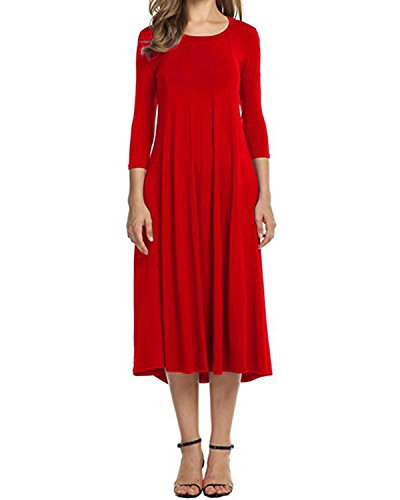 Sleeve Dress A 3 Red Midi Women's AUDATE 4 Color Solid Casual Swing Loose Line wOqaxxWnH7