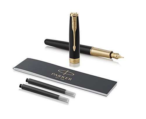 PARKER Sonnet Fountain Pen, Black Lacquer with Gold Trim, Solid 18k Gold Fine Nib