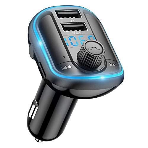 🥇 Wodgreat Transmisor FM Bluetooth Manos Libres para Coche Bluetooth Coche Mechero Adaptador Bluetooth Coche Reproductor MP3 Coche con Luz de Anillo Azul Dual USB Soporte Tarjetas TF/U Disk