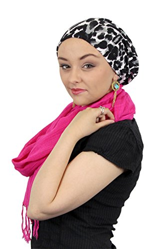 Luxury Chemo Beanie Bamboo Slouchy Hat for Cancer Patients Animal Print