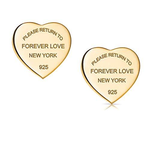 Designer Inspired Titanium Steel Forever Love Heart Earrings Studs (Gold)
