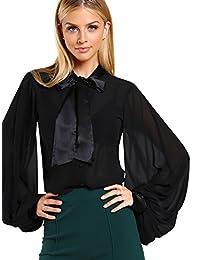 WDIRA - Blusa de Gasa para Mujer, con Botones de Cuello y Lazo, satén