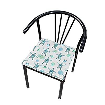 HNTGHX Outdoor/Indoor Chair Cushion Ocean Turtle Starfish Square Memory Foam Seat Pads Cushion for Patio Dining, 16
