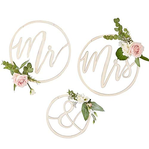 Rays Hanging - Ginger Ray Wooden Mr & Mrs Hanging Hoop Wedding Decoration Backdrop - Gold Wedding