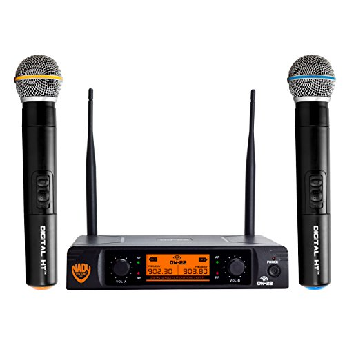 "Nady DW-22 Dual Digital Wireless Handheld Microphone System – Dual fixed UHF frequency – Ultra-low latency with QPSK modulation - Dual XLR and mixed ¼"" - Mhz 900 Wireless"