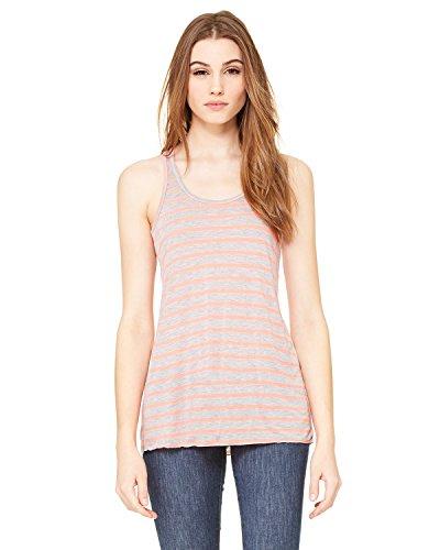 (Bella Canvas Women's Racerback Tank Top, Stripe-Ath Heather/ Neon Pink, Large)