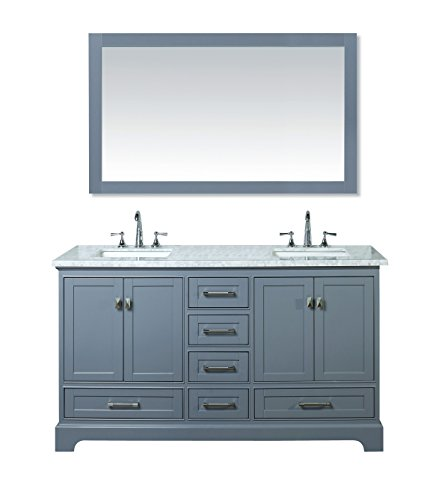 Stufurhome HD-7130G-60-CR Newport Grey 60 inch Double Sink Bathroom Vanity with Mirror