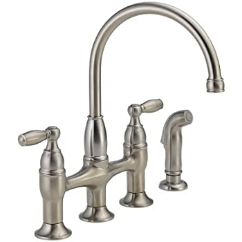 Delta 21966lf Ss Dennison Two Handle Bridge Kitchen Faucet