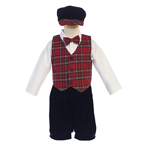 Lito Baby Boys Red Black Plaid Pattern Vest Velvet Knicker Set Outfit 12-18M (Knickers Velvet)
